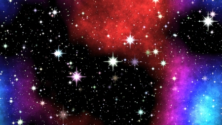 shinning: Colored nebula on night sky with shinning stars.