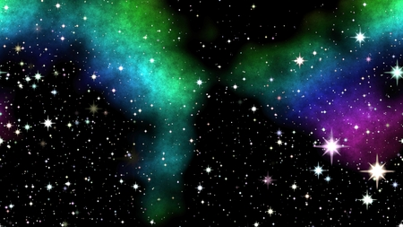 shinning: Colored nebula on night sky with shinning stars.