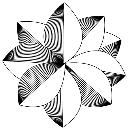 Simple retro black and white bloom vector on white background. Illustration