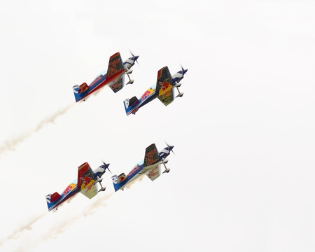 CASLAV, CZECH REPUBLIC - MAY 20, 2017: Flying Bulls aerobatics team with ExtremeAir XA42 planes showing his performance during the Open Day at Tactical Air Force Base Caslav.