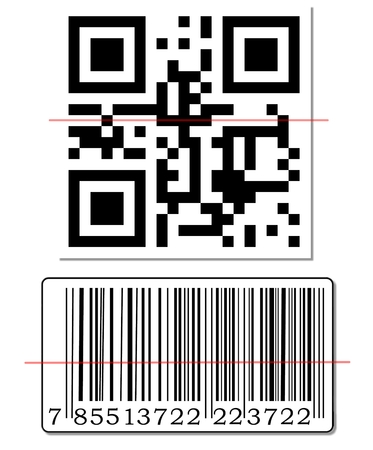 qrcode: QR code and barcode with scanning red line.
