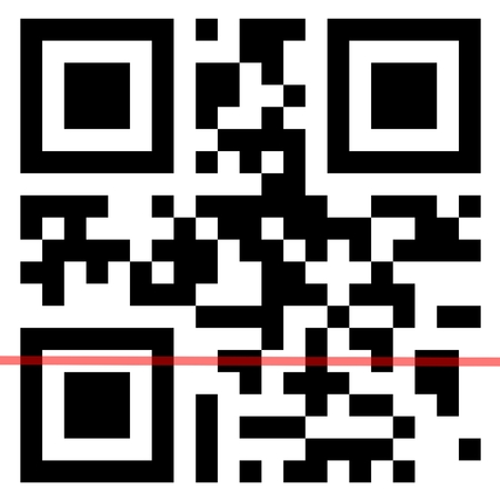 QR Code with scanning red line. Stock Photo
