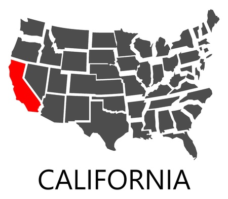 붉은 색으로 표시된 캘리포니아 주와 미국의 경계지도. 일러스트