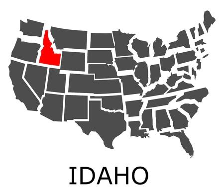 붉은 색으로 표시된 아이다 호 주와 미국의 경계지도.
