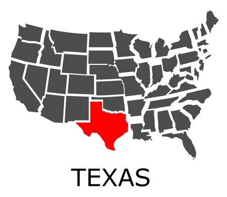 Bordering map of USA with State of Texas marked with red color. Illustration