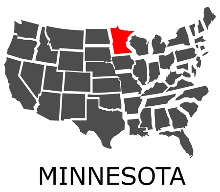 Bordering map of USA with State of Minnesota marked with red color.