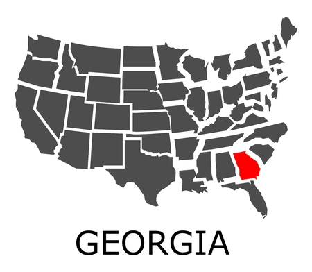 Bordering geographical map of USA with State of Georgia marked with red color.