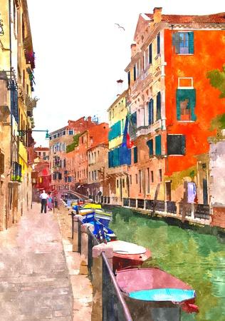 Pittura generata digitale dell'acquerello astratto del canale dell'acqua, delle case e delle barche di ancoraggio a Venezia, Italia.