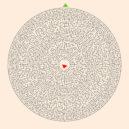 Hard Circle Maze Template with Red Entry Mark and Green Exit Mark on a Light Orange Background. Stock Photo