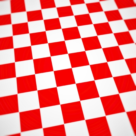 Red checkerboard background bent or warped perspective view. 写真素材