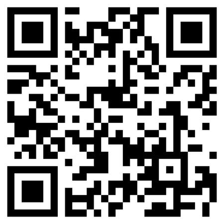 Código QR negro moderno sobre fondo blanco para escanear con teléfono móvil.