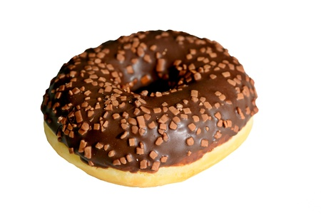 Closeup of one doughnut with chocolate glaze isolated on a white background.