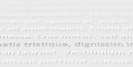 Closeup of extruded lorem ipsum text on white paper.