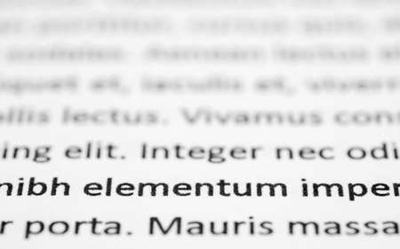 Closeup of lorem ipsum text on white paper, focused on foreground words.