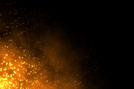 Abstract illustration of sparkling burning fire on dark black background with copy space on right side.
