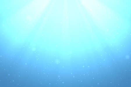 Shining light rays under the turquoise clear sea, abstract illustration.