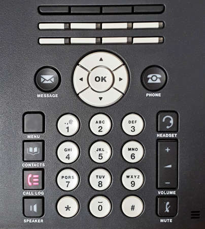 Full frame background with buttons of modern office telephone. Telephone keypad background.