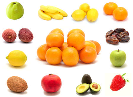 A photo collection collage of tasty fresh fruits on white background.
