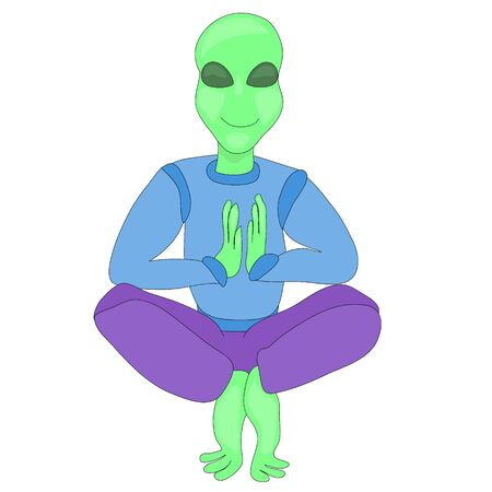 Alien in lotus position. alien doing yoga. yoga day. active lifestyle. fitness and stretching. UFO day. fairytale character. nice and kind alien. fantastic character