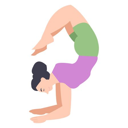 Balancing in yoga pose. individual yoga classes. girl leads an active lifestyle. fitness