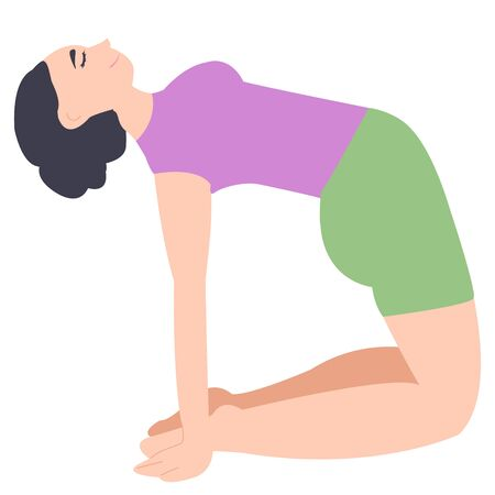 Camel pose yoga. the girl is engaged in fitness alone. active lifestyle. body stretching. sport and fitness