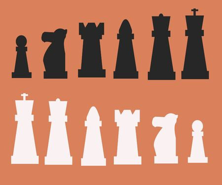 Chess pieces on a bright background. strategic game. white and black pieces. chess day. chess tournament