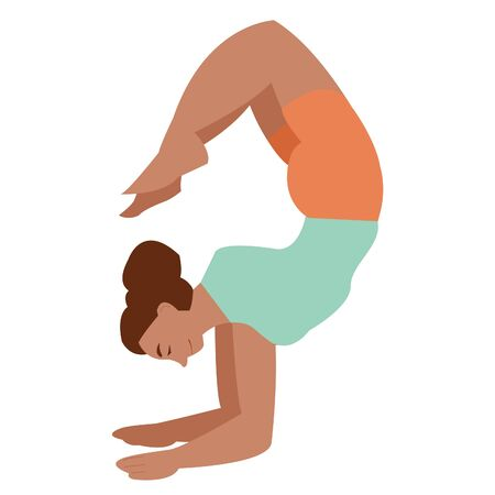 Dark-skinned girl practices yoga. doing yoga alone. professional yoga class. yoga day. workout, active lifestyle