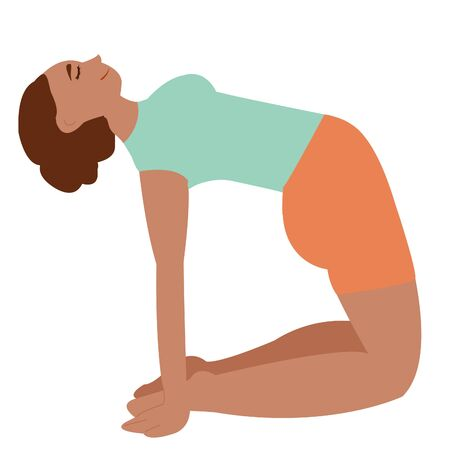 Dark-skinned girl practices yoga. doing yoga alone. meditation. professional yoga class. yoga day. workout, active lifestyle