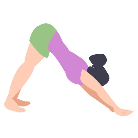 Dog pose snout down yoga. individual yoga classes. girl leads an active lifestyle. endurance training, muscle stretching