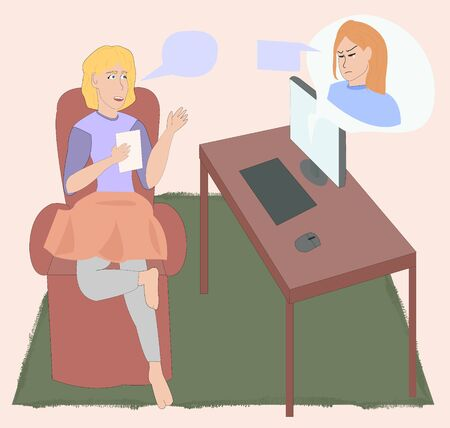 Classes with a psychologist in video communication. girl at a psychotherapist session online. online psychology. video call. online chat. talks about his feelings online