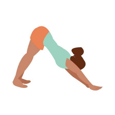 Girl is doing yoga. single fitness classes. meditation. stand in sport. fitness and stretching. Çizim
