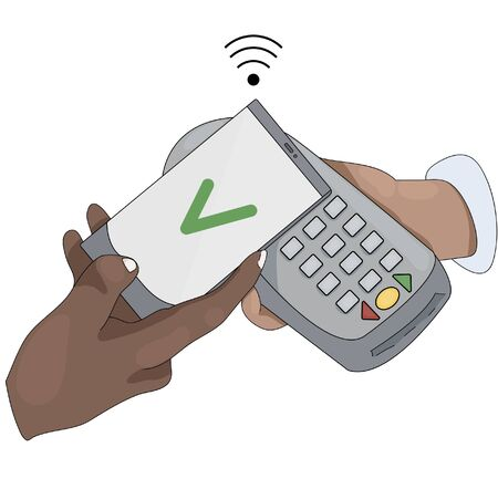 Illustration of contactless payment via terminal by phone. contactless payment upon delivery. contactless purchase Иллюстрация