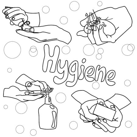 hand hygiene products. soap, liquid soap, antiseptic. hand draw and hand lettering. nline art. coloring. hygiene study