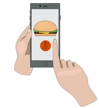 Home delivery food. buying hamburgers through the app. fast food. order products online.