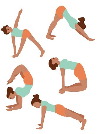 Set of yoga poses. black girl doing fitness. Asana in yoga. balance and stretching. doing yoga alone. harmony. girl doing yoga. active lifestyle, fitness Vectores