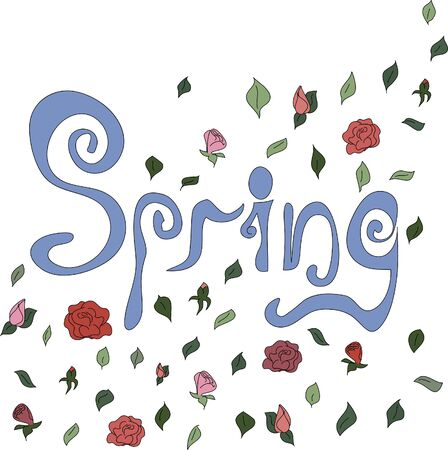 Spring card for background. Hand lettering and flower and leaf decorations