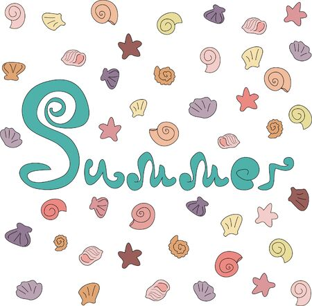 Summer card for backgrounds and greetinfs .. Hand lettering and shells decorations. printing on wallpaper, clothes and paper. print for curtains, print for stickers. decoration Иллюстрация