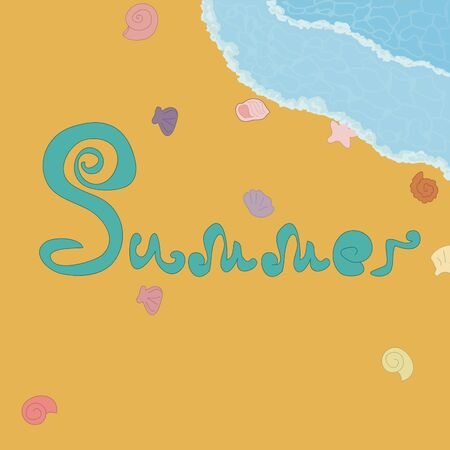 Summer vacation at sea pattern. Hand draw and hand lettering. printing on wallpaper, clothes and paper. print for curtains, print for stickers. decoration Çizim