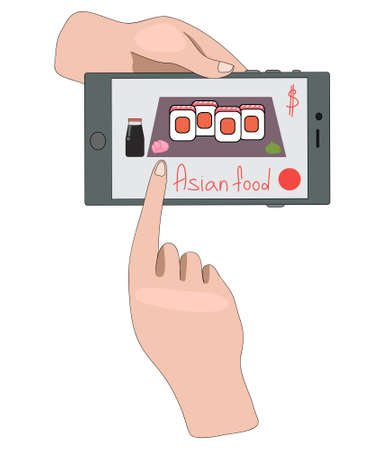 Sushi. ordering asian food online. contactless home delivery. order products online. contactless delivery and payment. restaurant menu
