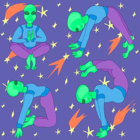 The alien does yoga. space background. set of fantastic character poses. International Yoga Day. international UFO day. toy for children. mascot and stickers