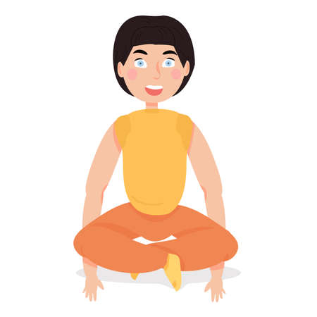 The child does yoga. activity at home. hobbies for children. child development. sports generation. Illustration