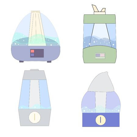 Variation of models of air humidifiers. different home air purifiers. clean air in the house. health and family care. cozy house.