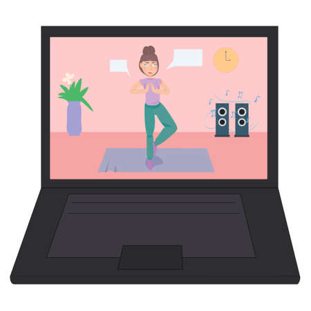 Yoga classes online. fitness lessons through video. active lifestyle at home. way to relax. yoga day. hobbies for the whole family.distance learning Illustration