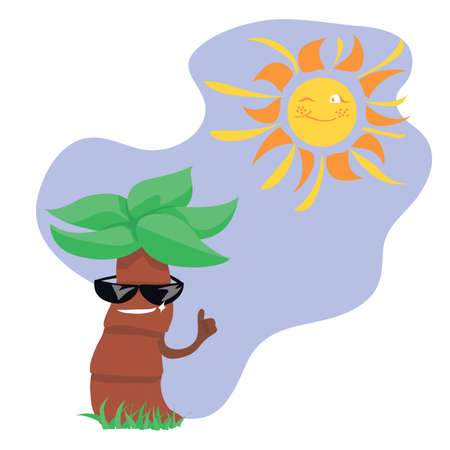 summer characters. sun and palm tree. fairy tale characters. mascot or sticker. for printing on clothes or a postcard.
