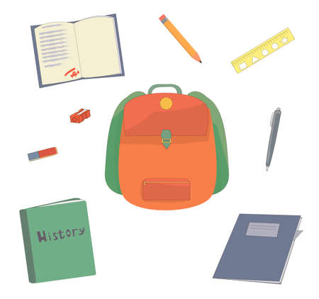 school set. stationery for the student. stationery. pens and pencils. preparation for school. backpack and textbooks. study