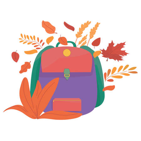 backpack in the autumn foliage. autumn season. the beginning of the school year. preparation for school. September. school office. autumn sale. poster and banner for printing.