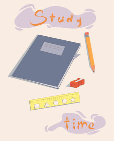 poster for the organization of studies. study time. motivation. poster to class. school supplies and lettering. school workspace.