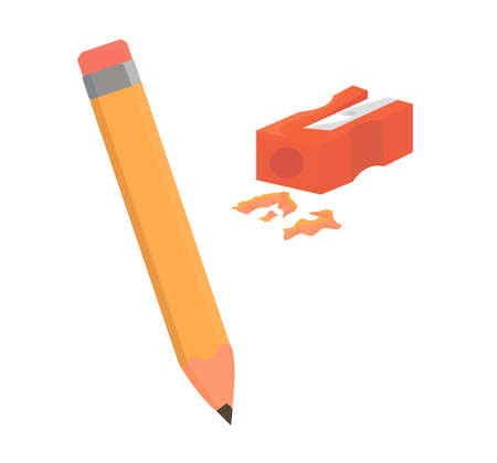 sharpened pencil. pencil and sharpener. school supplies. office. school. goods for school. painting tools.