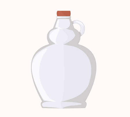 Glass bottle. vessel. round bottle. empty embossed for maple syrup bottle. containers, dishes for liquids. glass production. bottle for oil, maple syrup, wine.