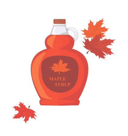 a bottle of maple syrup. sweet syrup for pancakes. Canadian cuisine. Maple Leaf. red and orange colors.